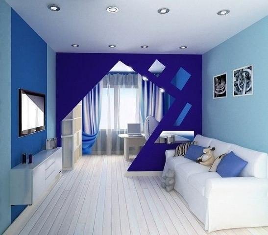 Дизайн детской комнаты с зонированием