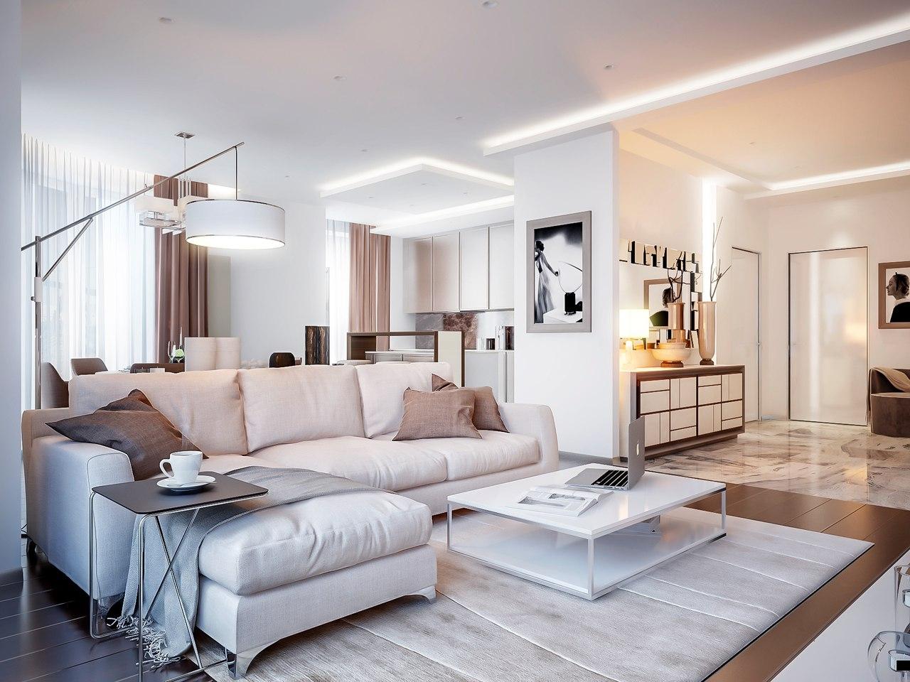 Дизайн классической гостиной в белом цвете
